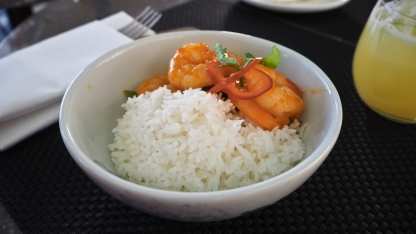 Pan fried prawns with rice