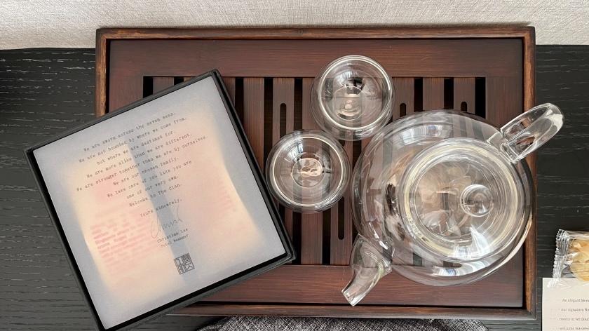 The Clan Hotel Deluxe Room welcome tea set